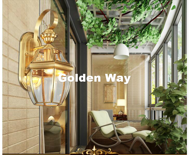 Free Shipping Antique Brass Wall Lamp Outdoor Design Crystal Wall Sconce Brass color Wall Lighting Lamp Wall Brackets Lights