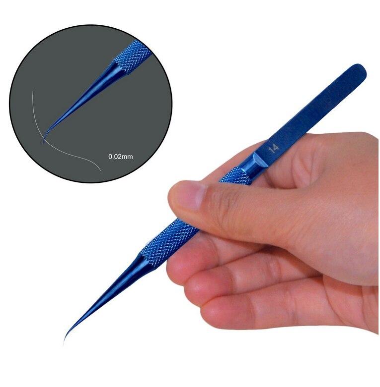 0.15mm Punta Fine In Lega di Titanio Curvo Pinzette Acido-veloce Anticorrosivo linea di Volo Per la Scheda Madre Del Telefono Manutenzione di Impronte Digitali