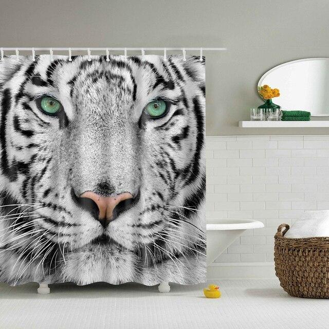 Svetanya White Tiger Print Shower Curtains Bath Products Bathroom Decor With Hooks Waterproof 71x71
