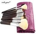 12 unids/set Maquillaje Cepillo Conjunto Kit de Herramientas de Maquillaje Suave y Densa Natural Del Pelo Prima Completa Función con el Caso