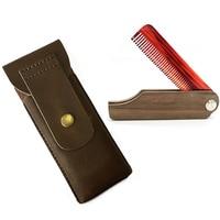 M 16 Customized Men S Beard Acetate Red Teeth With Black Walnut Handle Wooden Folding Comb