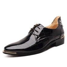 Большие размеры Новая модная мужская кожаная обувь оксфорды весна/осень мужская повседневная обувь на плоской подошве лакированная кожа Оксфордские туфли для мужчин острый носок