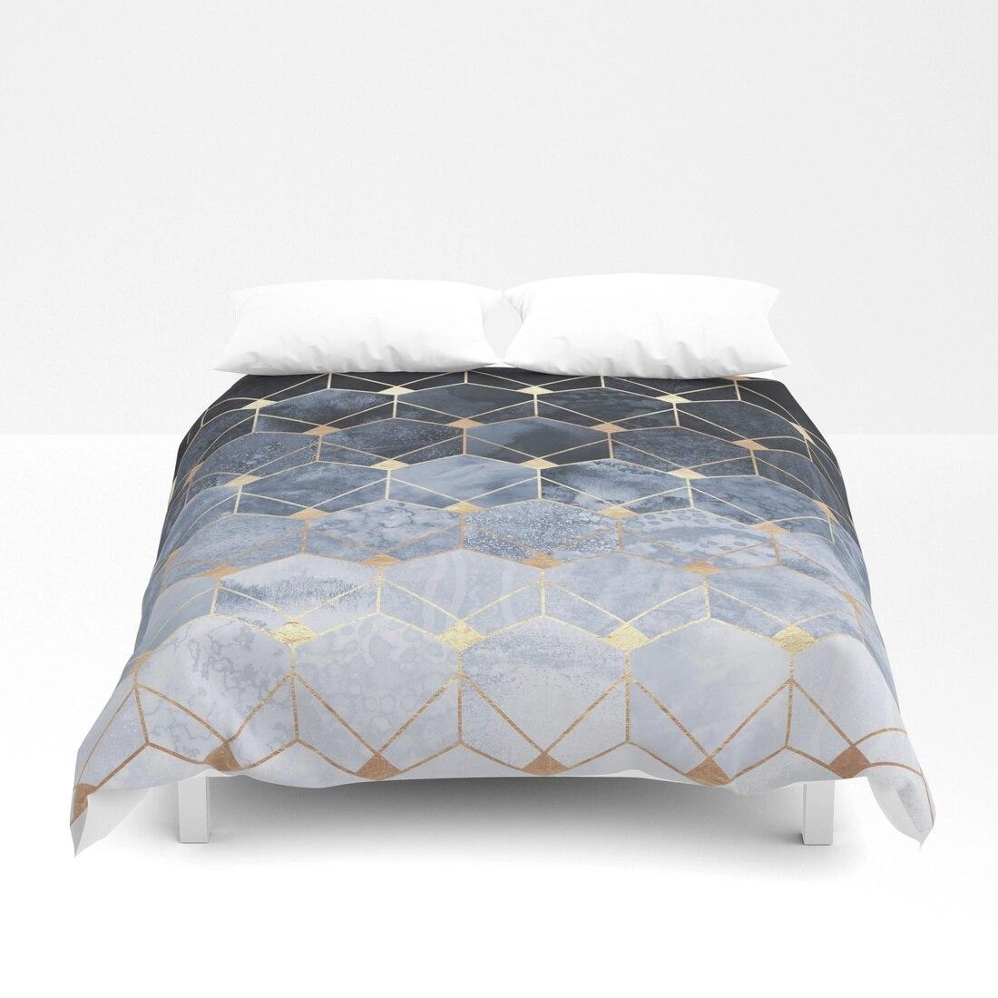 Синий шестиугольники и бриллианты набор пододеяльников для пуховых одеял комплект 4 предмет комплекты постельных принадлежностей Апрель