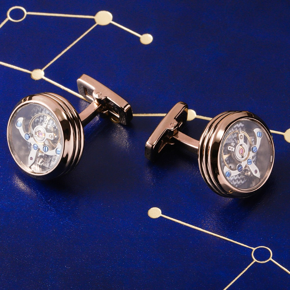 MAISHENOU Punk Cufflinks for Mens Gift Brand Mechanical Cuff links Buttons with glass cover Wedding High Quality Free Shipping стоимость