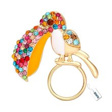 2016 New Fashion Hot Sale Latest Colorful Crystal Toucan Magnet Brooch Enamel Multi-function Eyeglass Holder For Women Design