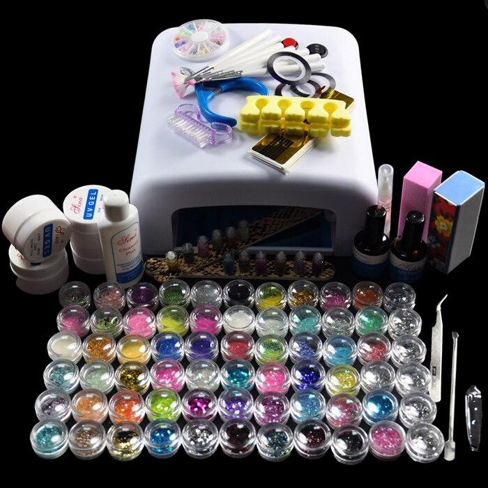 Nouveau Pro 36 W lampe blanche et 66 couleur UV Gel poudre outils d'art des ongles Kit de vernis