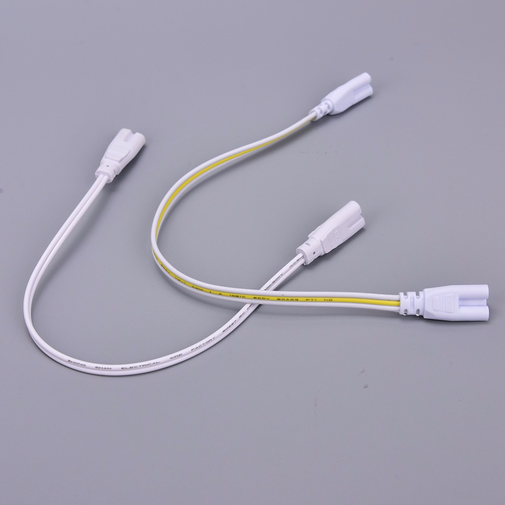 2Pcs Double-end Cable Wire 3 Pin LED Two Three-phase T4 T5 T8 Led Lamp Lighting Connecting Tube Connector 30cm