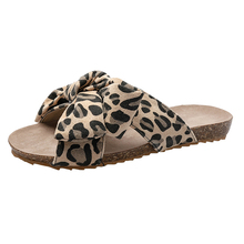 Leopard Beach Slippers For Women Summer Slides Flip Flops Bowknot Ladies Home buty damskie Plus Size 42