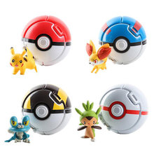 2019 Nieuwe 1 of 4 pcs Pokeball Gaan Speelgoed Pocket Monster Explosie Pokeball Pikachu Super Master Model Figuur Speelgoed voor kids Party Gift(China)