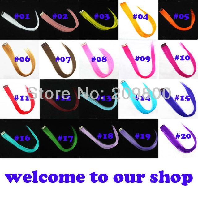 20 Colors free shipping 18'' long clip in on synthetic hair extensions for wholesale 30PCS/SET  multi-colors