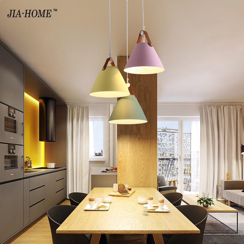 Colorful Minimalist Design: Fashion Colorful Modern Leather Pendant Lights Lamparas