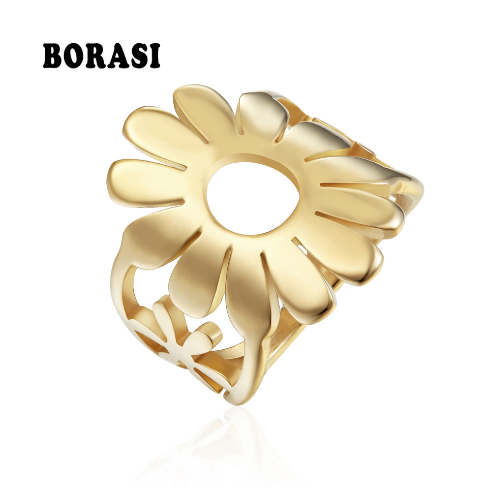 BORASI Circle Sunflower Rings New Brand 2019 Gold Color Female Size Rings Fashion Popular Jewelry Stainless Steel Flowers Rings