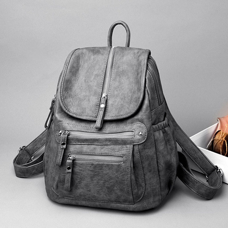 Ladies Leather Backpack Fashion Women Travel Backpacks Luxury Sac A Dos School Backpacks for Girls Black Large Mochilas XA281H in Backpacks from Luggage Bags