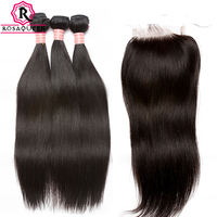 3 Straight Brazilian Hair Weave Bundles With Closure Human Hair Bundles With 5X5 Lace Closure Remy Rosa Queen Hair Extension