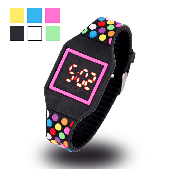 JOYROX LED Watch Kids Jelly Color Digital Child Watches New Touch Screen Rubber