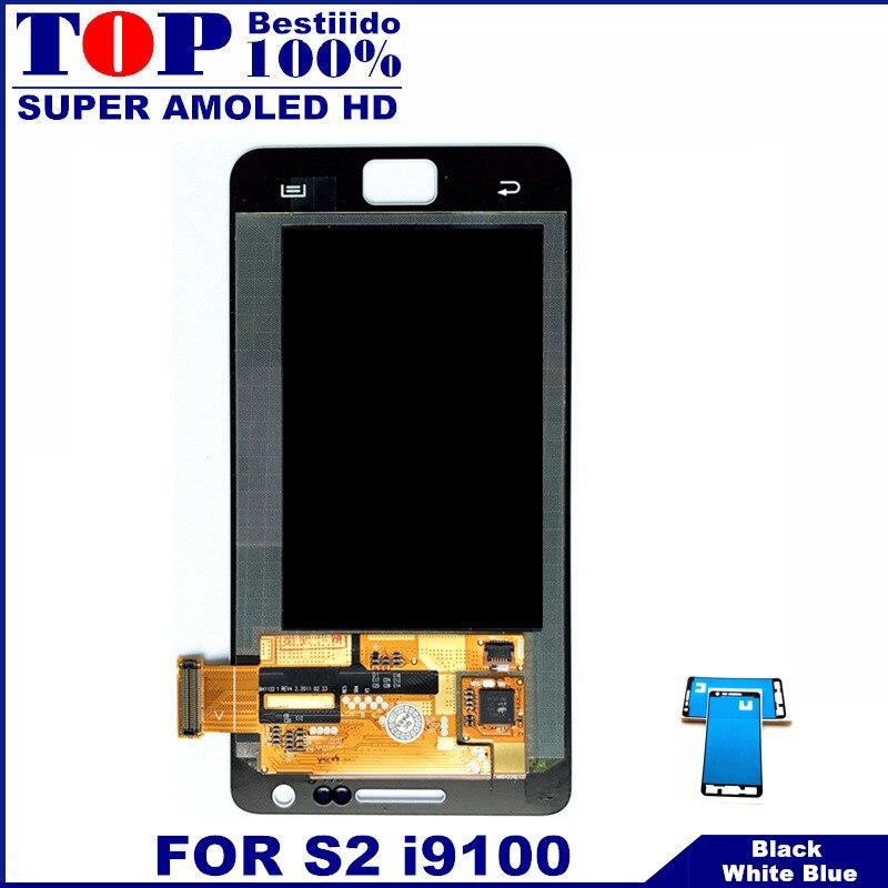 imágenes para Para Samsung Galaxy SII S2 i9100 Super AMOLED Pantalla LCD Táctil Digitalizador Asamblea Envío Libre con la Etiqueta Engomada Libre