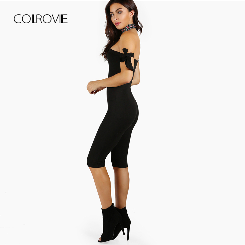 COLROVIE Black Mid Waist Knot Tube Top Capri Length Jumpsuit Women 2018 Summer Skinny Stretchy Off The Shoulder Sexy Jumpsuit