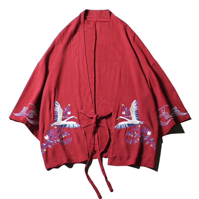 Tamaño Blusa Kimono Red Black Casuales M navy Traje Kinomos 37748 Plus Algodón Bordado Camisa wine 5xl Blue Hombre Lino Grúa Mujer Abrigo Neploe De g5Iq07wCH