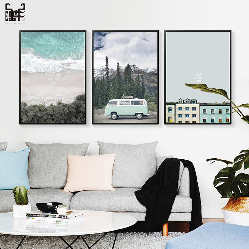 Poster Seascape Canvas Art Prints Retro Painting Car Landscape Picture Home Decoration Office Quotes Living Room Wall Decor image