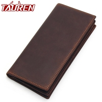 Mens Long Crazy Horse Leather Leather Wallets Men Genuine Leather Wallet Clutch Vintage Male Purse Leather Purse Wallets