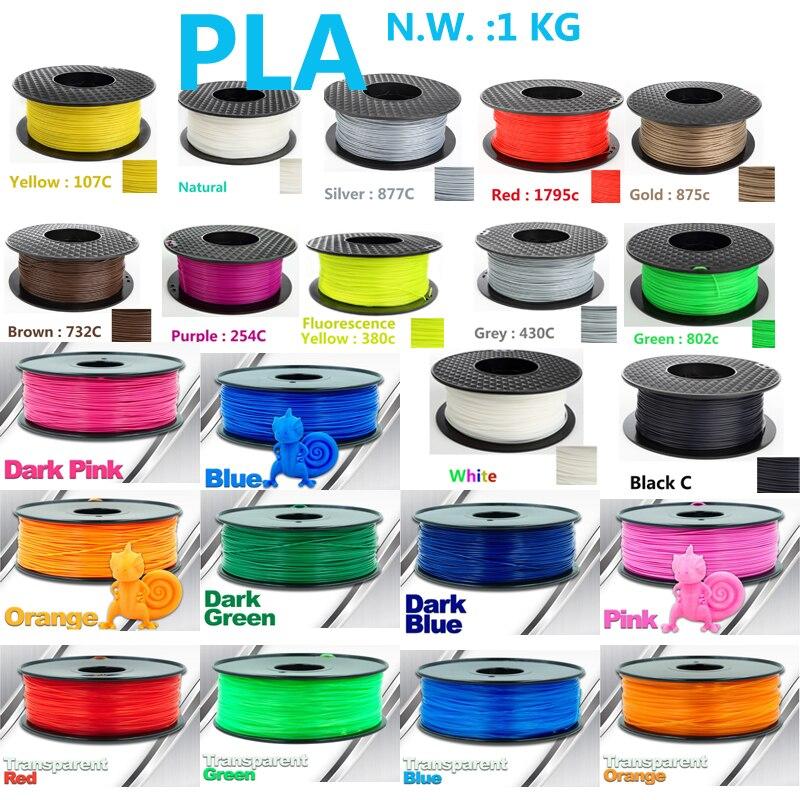 Alta intensit filamento del Pla 3D filamento impresora ee.uu. materia prima natural Pla 1.75 3D filamento plástico 1 kg impresora 3D filamento
