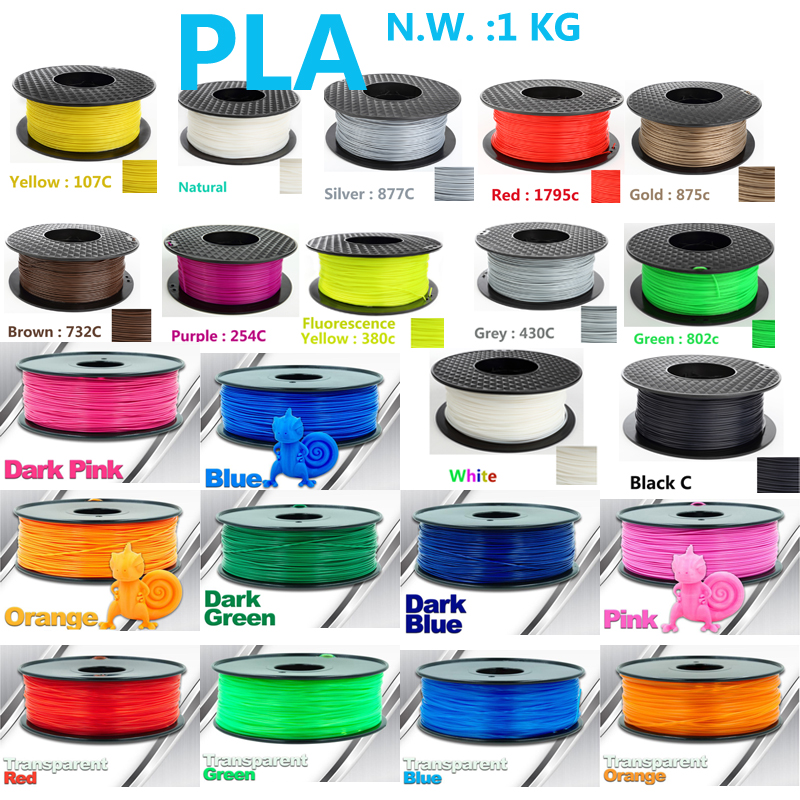 Hohe intensit pla filament 3d drucker filament USA Natürliche raw material pla 1,75 3d kunststoff filament 1 kg impressora 3d filament