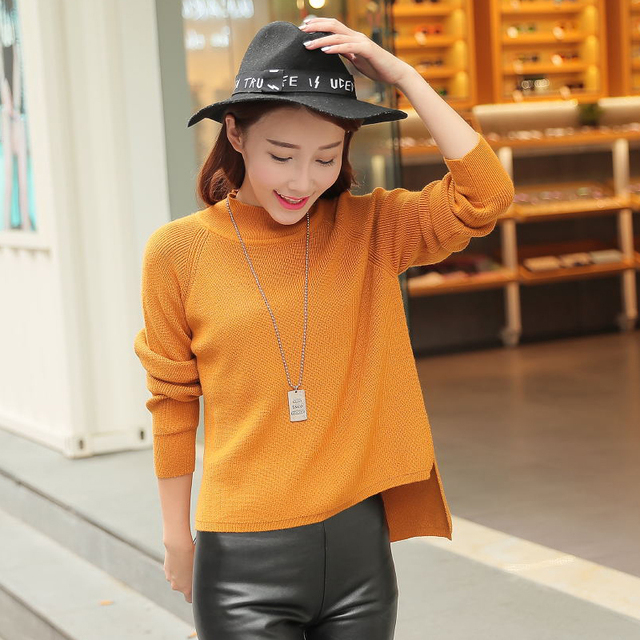 2017 spring of new women's irregular gold needle cashmere sweater shirt sweater women Casual cloth leisure