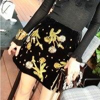 Nowy marka runway spódnice damskie Luksusowe złote hafty rocznika panie spódnice kobieta kwiaty frezowanie party spódnice NS737