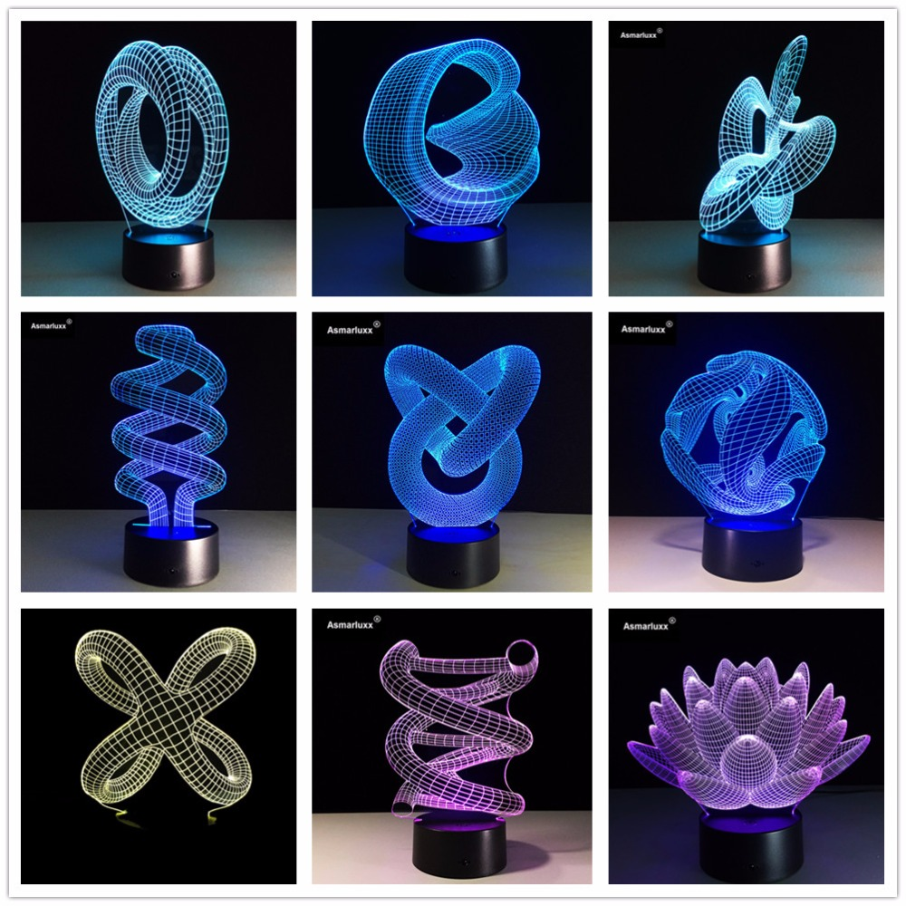 Image 3 - Abstract Circle Spiral Bulbing 3D LED Light Hologram Illusions 7 Colors Change Decor Lamp Best Night Light Gift For Home Deco-in LED Night Lights from Lights & Lighting