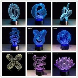 Image 3 - บทคัดย่อวงกลมเกลียวBulbing 3D LED Lightโฮโลแกรมภาพลวงตา 7 สีเปลี่ยนโคมไฟBest Night Lightของขวัญบ้านdeco