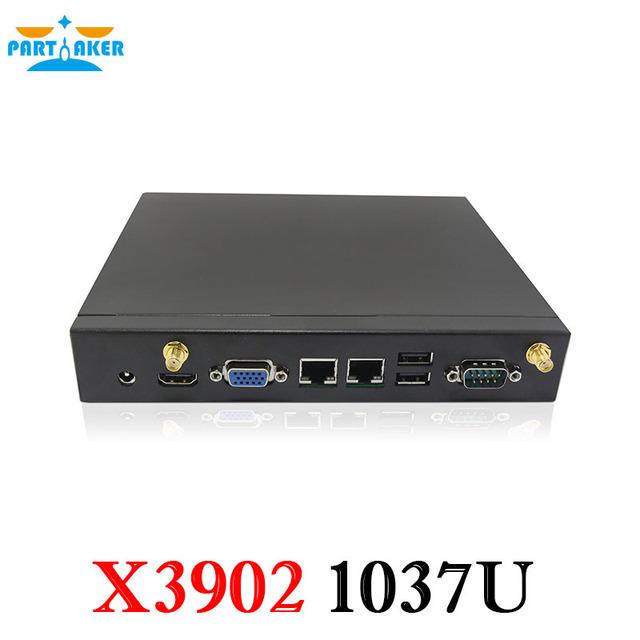 Partaker x3902 mini pc dual nic com 3g slot para cartão sim porta com intel celeron 1037u dual core 1.8 ghz processador