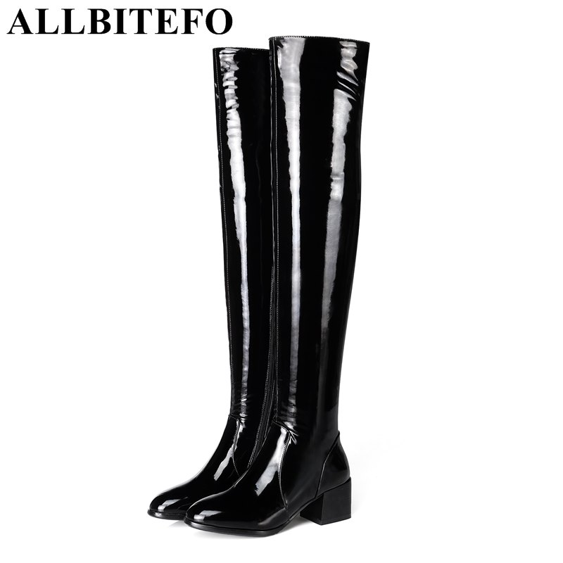 ALLBITEFO fashion sexy over the knee boots Patent leather+Elastic material thick heel women boots medium heel girls boots allbitefo over the knee boots nubuck leather medium heel women boots 4 colors winter boots thick heel snow boots size 33 43