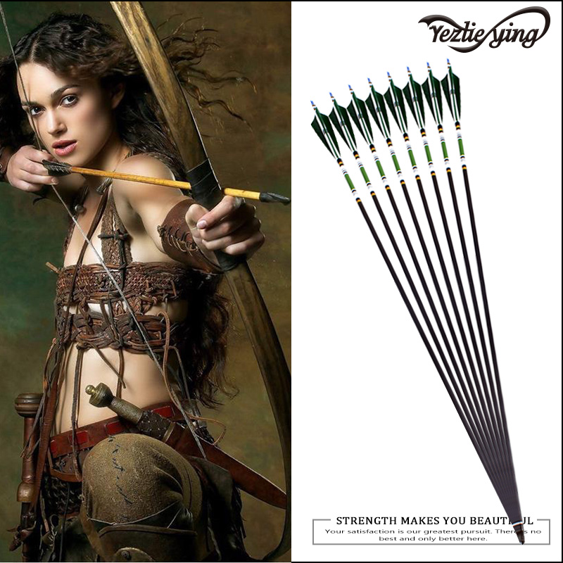 12pc 31.5 inch high quality painted mixed carbon arrows dark green Turkish feathers used to restore bow archery shooting target ...
