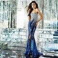 Que bling de Lantejoulas Sereia Vestido de Baile de Cristal Dividir Evening Formal Vestidos Longos Vestidos para a Formatura Vestido de Formatura Longo 2016