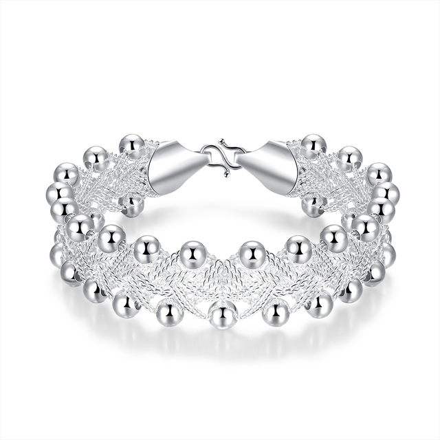 Bien connu Femmes D'argent Bracelets Ornementation Gros Perle Bracelet  DE64