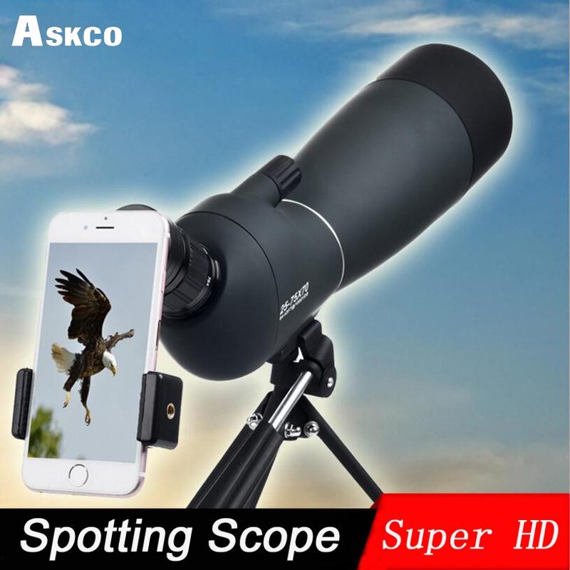 25 75X70 Zoom Spotting Scope with Tripod Long Range Target Shooting Bird Watching Monocular Telescope HD