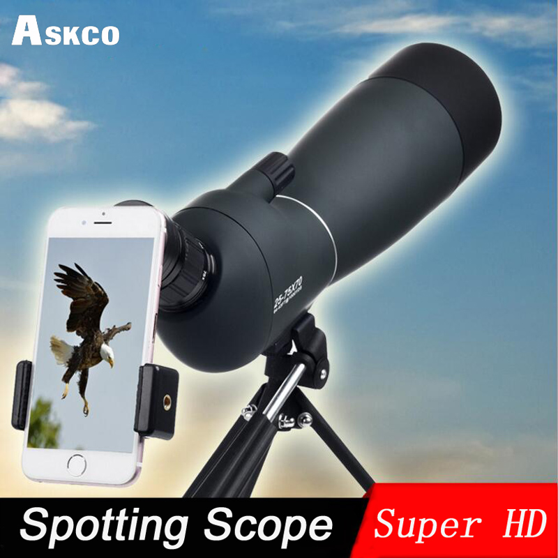 купить 25-75X70 Zoom Spotting Scope with Tripod Long Range Target Shooting Bird Watching Monocular Telescope HD Optical Glass FMC Lens по цене 5231.73 рублей