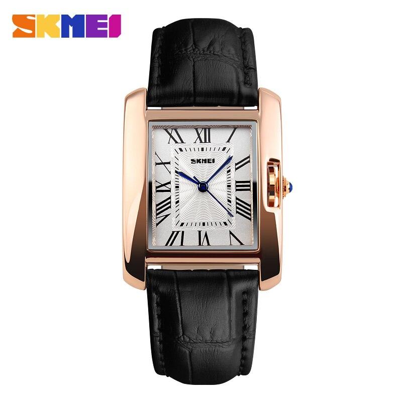 SKMEI Brand Women Fashion Quartz Watches Luxury Casual Leather Strap Analog Lady Dress Wristwatches 1085 Clock