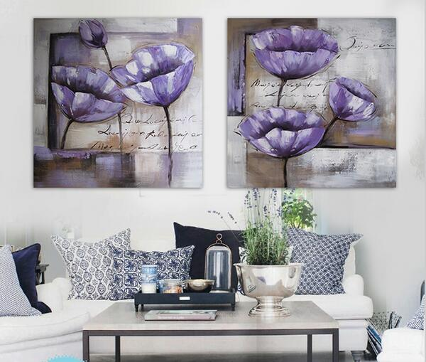 Purple Flower Oil Painting Abstract Wall Art Picture: Modern Hand Painted Flower Oil Painting Purple Abstract