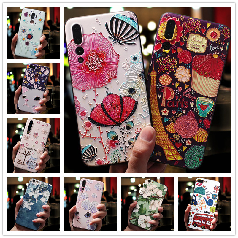 For <font><b>Huawei</b></font> <font><b>Honor</b></font> 10i <font><b>Case</b></font> 3D Flower Silicone Emboss Phone Cover For <font><b>Huawei</b></font> <font><b>Honor</b></font> 8S 9 Lite 8 20 Pro 9i Play 8X 10 <font><b>20i</b></font> Lite V20 image