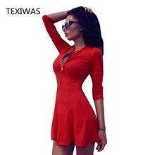 TEXIWAS 2018 spring and autumn new sexy women fashion V- neck zipper Slim Long sleeves dress women's clothing High quality dress