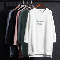 2019 Sale Full Kpop Korean Long Sleeve T shirt Women Cotton Casual New Style Knitted Letter Embroidery Loose Cloth O neck