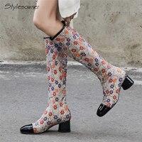 Stylesowner/пикантные модные сапоги до колена с вышивкой, украшенные цветком в этническом стиле, женские сапоги на высоком каблуке на молнии, жен