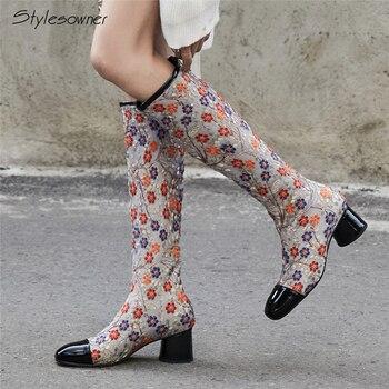 Stylesowner/пикантные модные сапоги до колена с вышивкой, украшенные цветком в этническом стиле, женские сапоги на высоком каблуке на молнии, жен...
