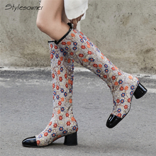 Stylesowner Sexy Fashion Embroidered Knee High Boots Embroider Flower Ethnic Women High Heel Boots Zipper Lady Botas Mujer Shoes