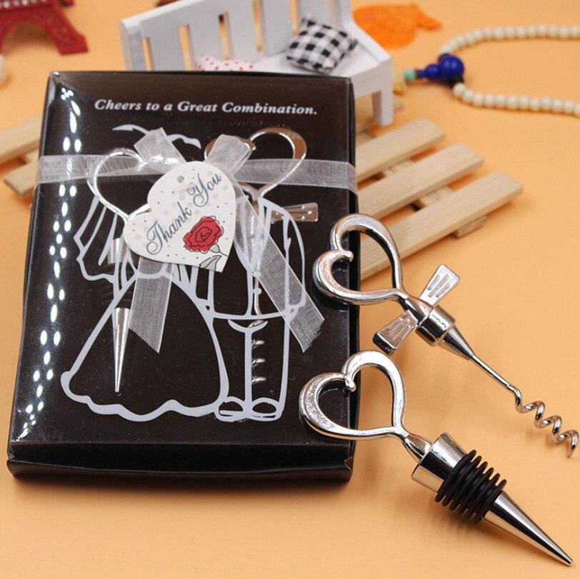 10pcs lot Love Heart Corkscrew Wine Bottle Opener Wine Stopper Wedding Gift Favors Bottle Opener Set
