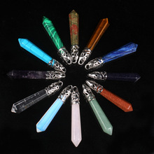 12 pçs/lote pêndulo hexagonal apontou reiki pedras naturais de quartzo pilar encantos pingente para colar que faz diy acessórios livre