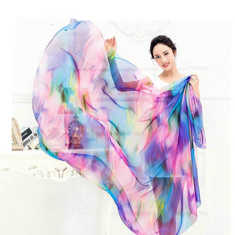 RUNMEIFA 2019 New Fashion Women Summer Chiffon   Scarf   Light Colorful   Scarf   Female Elegant Shawls and   Wraps   Cover-Up Beach   Scarf