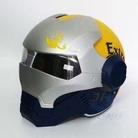 חדש הכחול וצהוב קורונה רטרו איש ברזל איש ברזל מסעי קסדת קסדת אופנוע פנים פתוחים חצי קסדה 610 ABS קסדה מוטוקרוס