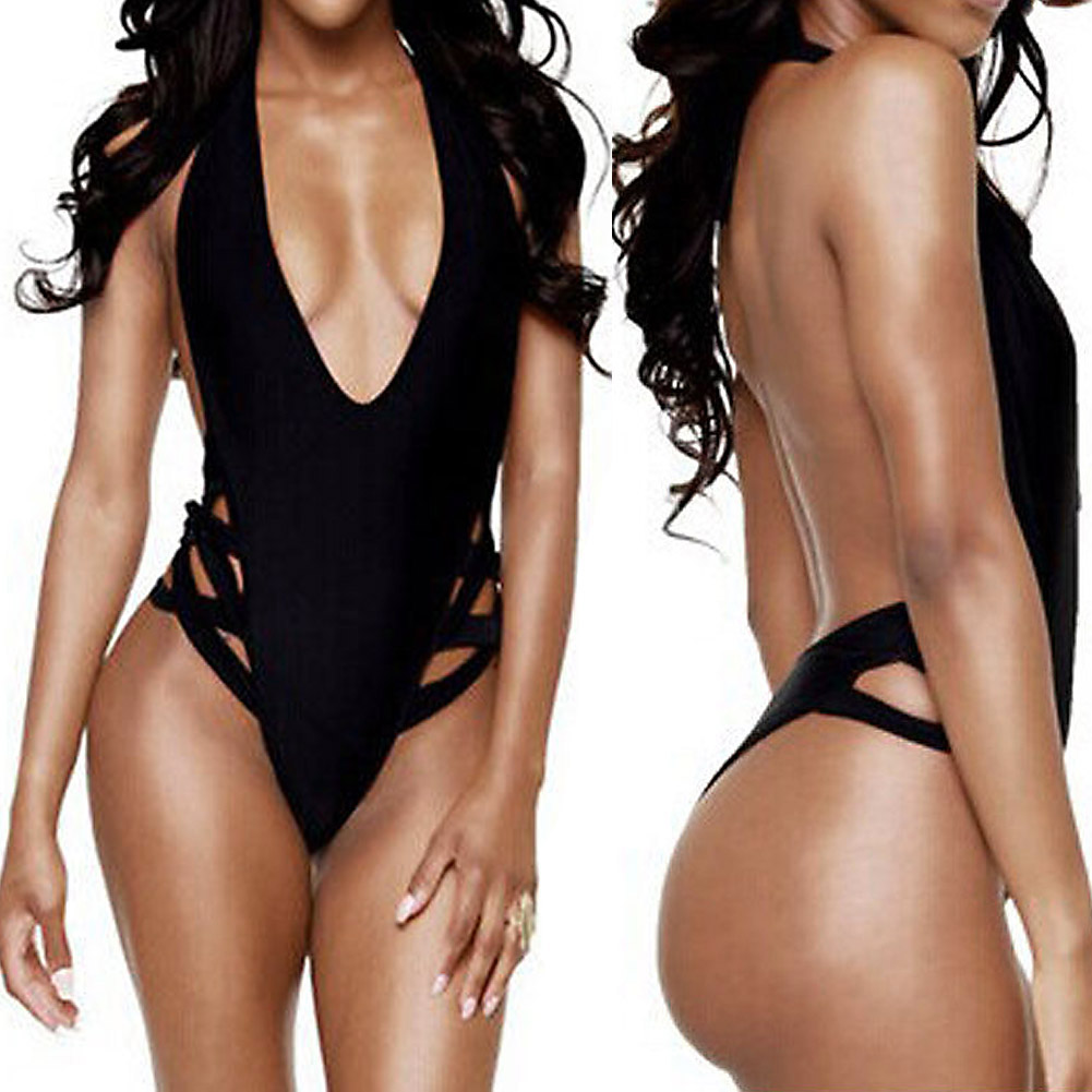 Women Sexy One-Piece Swimwear High Cut Out Monokini Backless Swimsuit Bikini Deep V Neck Bathing Suit beach wear maillot de bain women solid one piece swimsuit halter backless bandage bodysuit monokini deep v neck sexy high waist vintage beach wear page 3